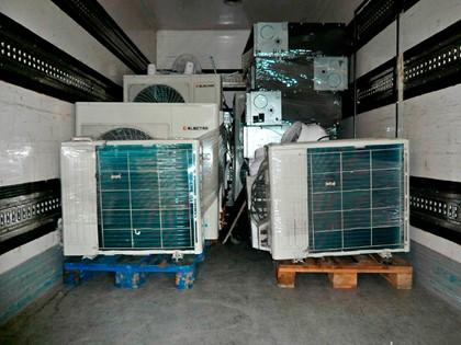 Lote compuesto en equipos de aire acondicionado, ventiladores, y sus accesorios y lámparas.